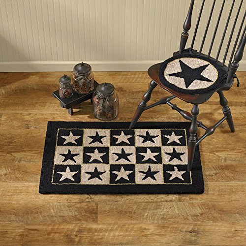 Park Designs Black Star Hooked Rug, 24 x (Hooked Rectangle Rug)