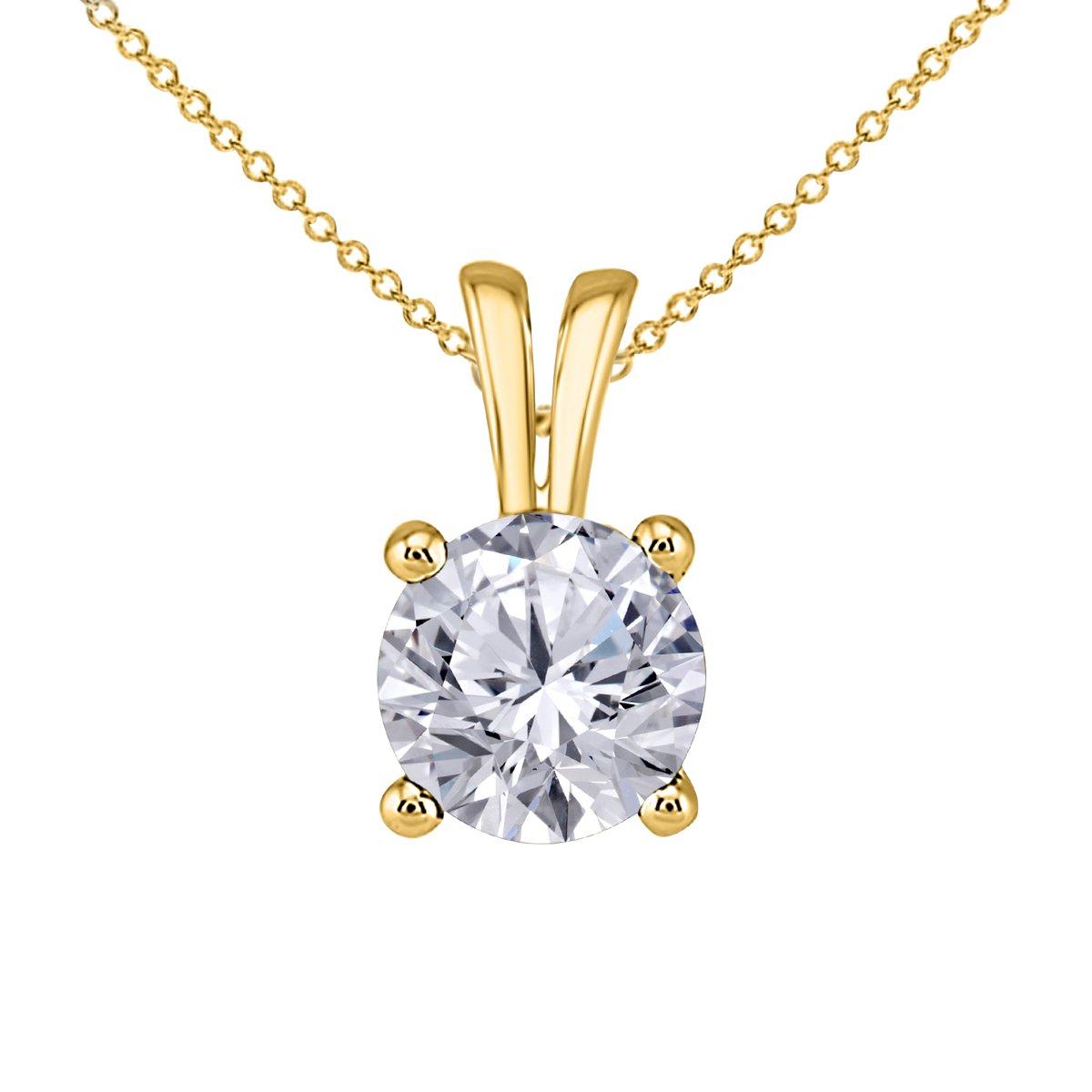 Hot Classic Look 1.00 Ct Round Cut Black Sapphire CZ Solitaire Pendant Necklace for Women 18 16+2 Ext.