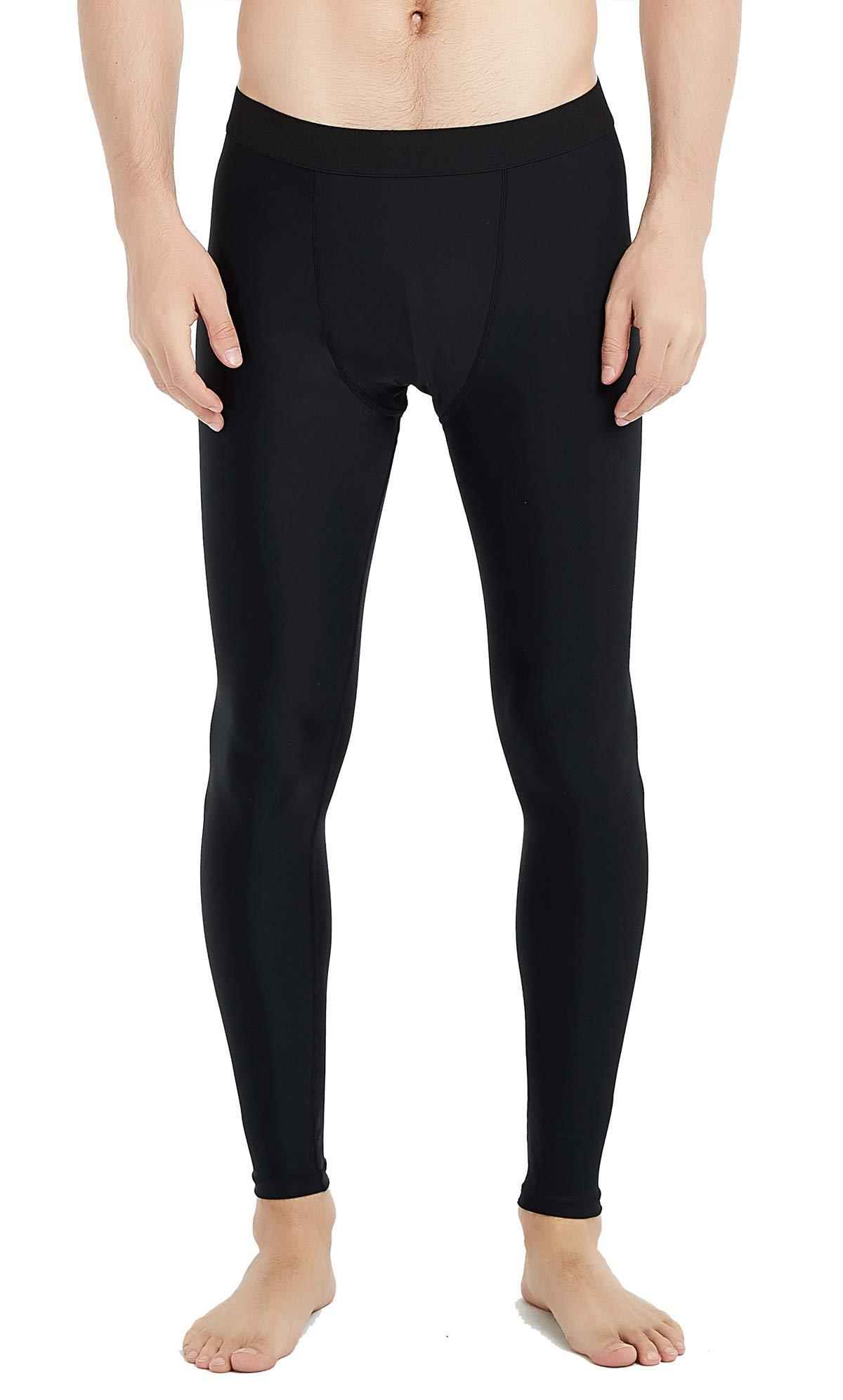 UPF 50+Men's Surfing Leggings Sun Protection High-Waist Tummy Control Swimming Pants(6006black-L) by Lemorecn