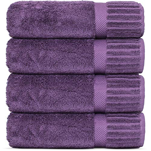 Luxury Hotel-Spa Turkish Cotton 4-Piece Bath Towels (Plum)