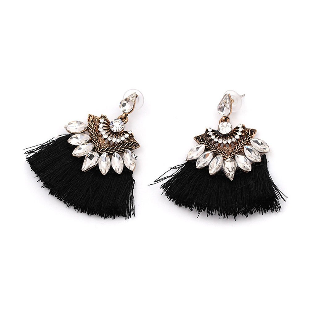 Fashion Women Crystal Rhinestone Tassel Drop Dangle Ear Stud Earring Jewelry LOVE STORY (Black)