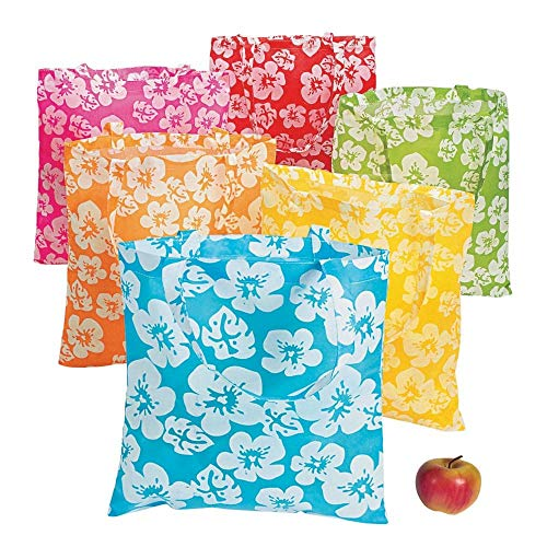 Lot of 12 Large Hibiscus Hawaiian Luau Pool Party Tote Bags]()