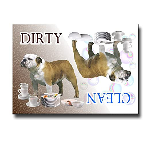 Amazon.com: Bulldog inglés Clean Dirty lavaplatos Imán Nº 2 ...