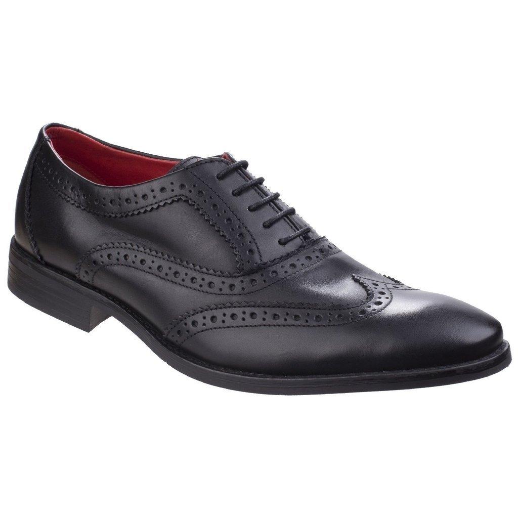 Base London Mens Bramble Smart Burnished Leather Brogue Pattern Shoes 10 UK/ 44 EU|Negro