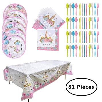 SUNSHINETEK Unicorn Party Supplies 81 Piezas desechable, Juego de vajilla de Fiesta de cumpleaños Unicorn para 16 Invitados (9 Pulgadas Platos, ...