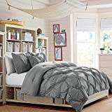 Pinched Pleat Soft Grey Bedding 7 Piece Bed in a Bag Pintuck Puckered Polyester Microfiber QUEEN Comforter Set