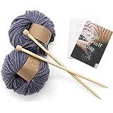 Calm Club Blanket Knitting Kit - Chunky Comfort Blanket Knit Kit - Includes 7 Balls of Chunky Yarn, Bamboo Knitting Needle an