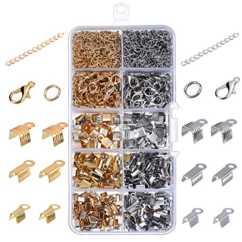 eBoot 1000 Pieces Jewelry Findings Kit Iron Fold Over Cord Ends Lobster Claw Clasps Jump Rings Extension Chains for Jewelry (Choker Clasp)