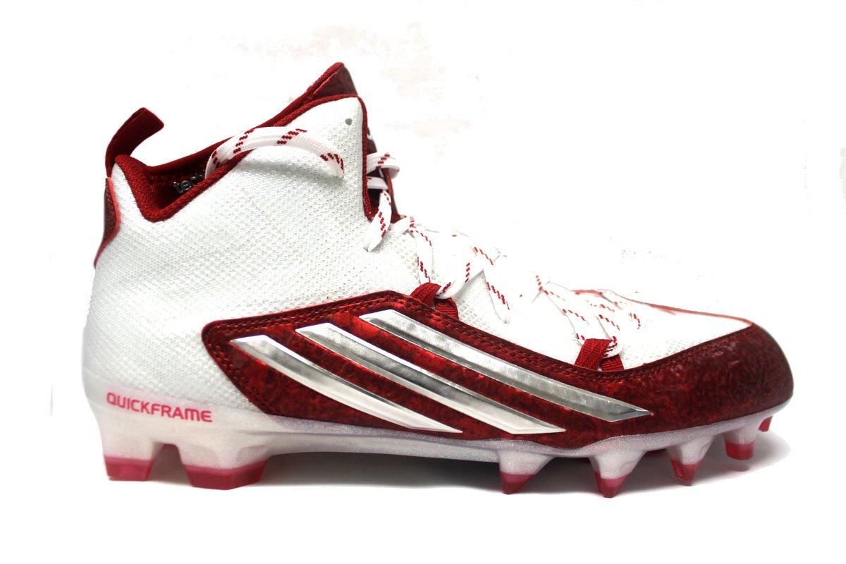 adidas Men's Crazyquick 2.0 Mid Football Cleats (10.5, White/Platinum/Unired) by adidas