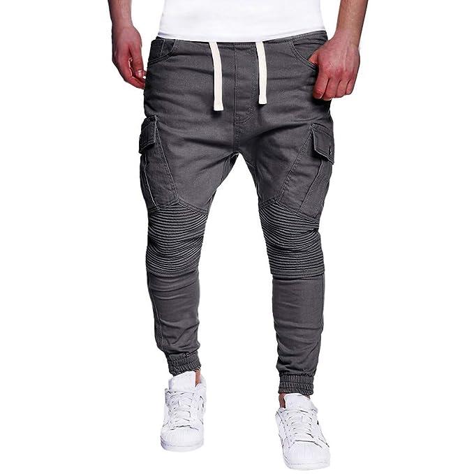 ea92beb8af3cf Chándal Slim Fit Pantalón elástico de algodón Pantalones de Hombre Jogging  para Pants Deportivos Joggers Largos