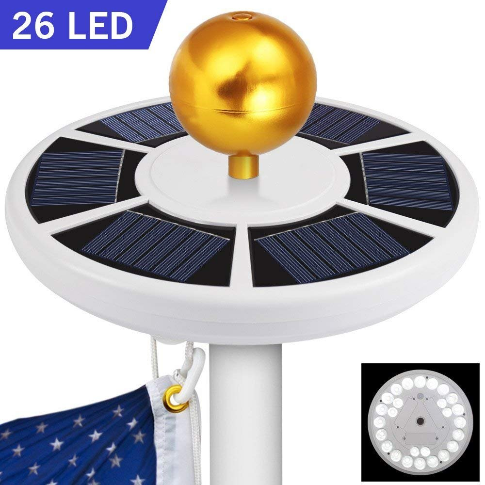 greatall 26 LED Solar Flag Pole Lights, Solar Flagpole Downlight for Most 15 to 25 Ft Dusk to Dawn Auto On/Off Night Lighting