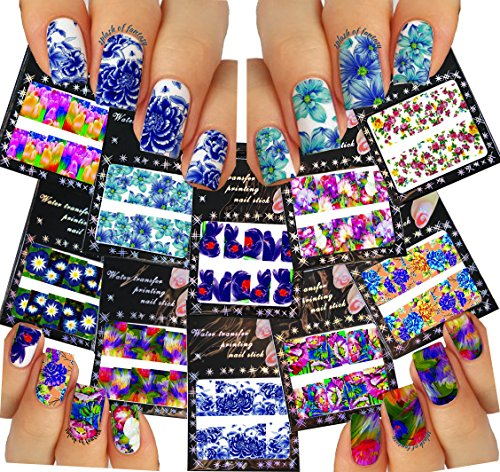 Nail Art Water Slide Tattoo Decals ♥ Full-Cover ♥ Flowers - Daises, Lilies, Tulips, etc., 10 - pack ♥ /CVIII/ (Decals Tattoo)