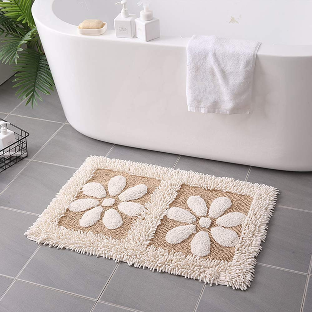 Linbing123 Fluffy Area Rugs Non-Slip Absorbent Footpad for Bathroom Entrance,Hand-Woven Cotton Carpet,Easy to Clean,Yellowwithwhiteedge by Linbing123