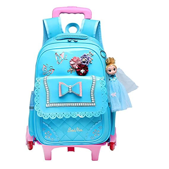 Amazon.com: BESBOMIG Childrens Rolling Backpack for 8-12 Years Old Girls - 6 Wheels Trolley Bag: Sports & Outdoors