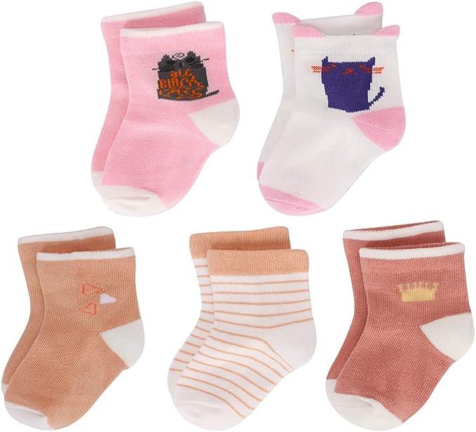 LACOFIA 5 Pares Calcetines de algodón para bebé niñas niños ...