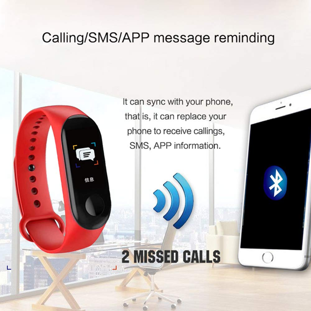 RONGYE M3 Fitness Tracker Sleep Monitoring Message Notification Step Counting Heart Rate Blood Pressure Monitoring IP67 Waterproof Smart Bracelet for Adults Teens Activity Tracker Kids