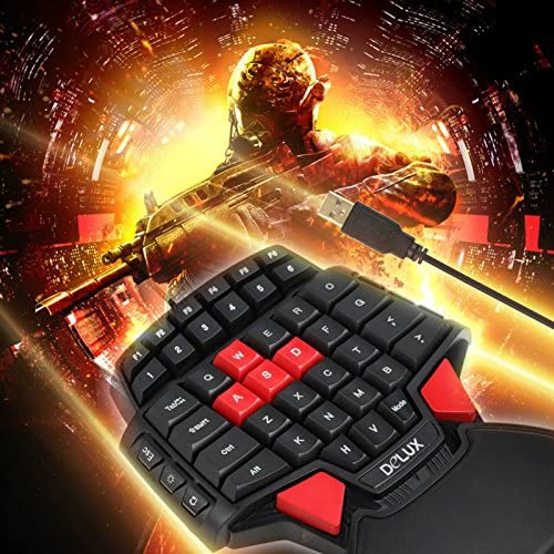 Delux T9 Professional Gaming Keyboard with One Hand LED Backlight Double Space Key Bar USB Wired Mini Portable Game Key Board