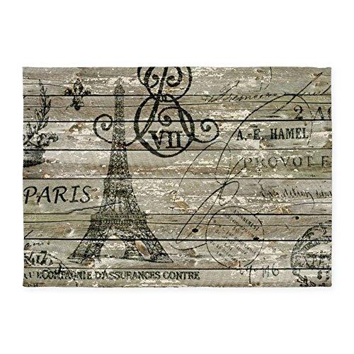 CafePress - Vintage Paris Eiffel Tower Scripts - Decorative Area Rug, 5'x7' Throw Rug