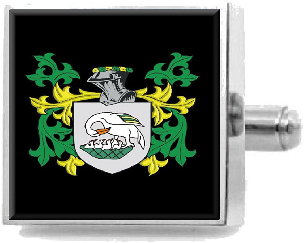 Select Gifts OLoughlin Ireland Family Crest Surname Coat Of Arms Cufflinks Personalised Case
