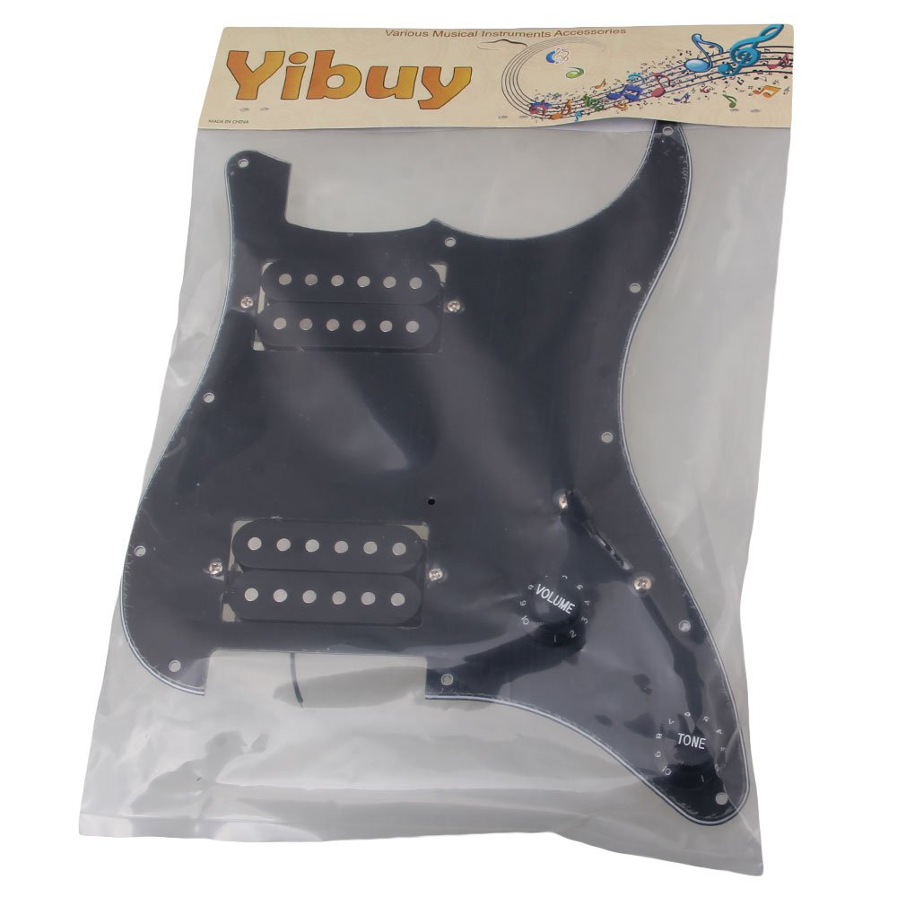 Yibuy 3Ply Black Loaded Pickguard HH Sets Dual Humbuckers for Electric guitar