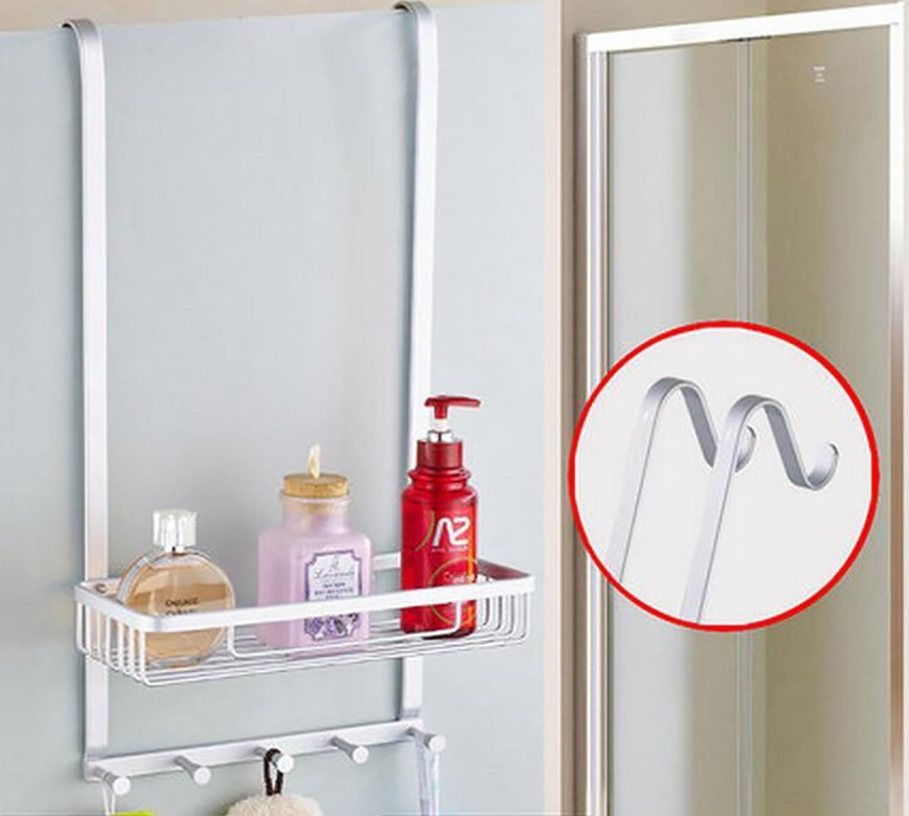 YAOHAOHAO Bathroom shelving free shower hole room rack, bath rooms 304 stainless steel wall hanging Shopping Cart 1 layer depend on storage rack (Color (a)