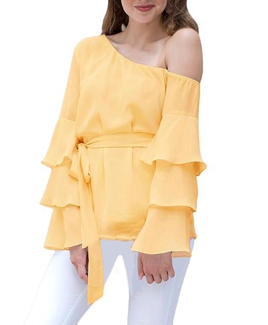 Blusas De Mujer Elegante Manga Larga Chiffon Camiseta Oblicuo Hombros Sin Tirantes Cinturón Top Anchos Primavera
