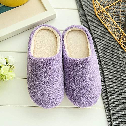 Pantoufles Maison De D'hiver Rayé Uni slip Sanfashion Violet Anti Chaud Hommes Chaussures À L'intérieur Femmes Chaussons xq7I1