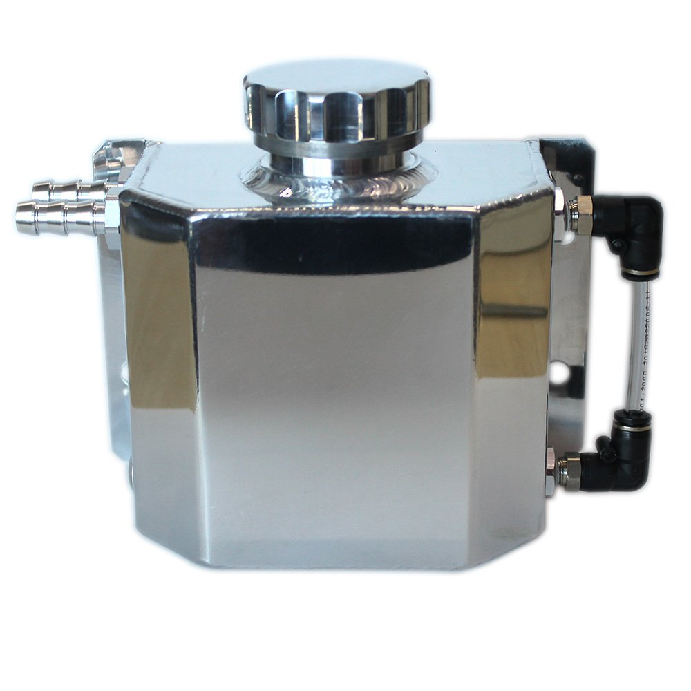 SPSLD Universal Oil Catch Tank Radiator Overflow Coolant Recovery Water Bottle Can Polished Reservoir Aluminum 1000ml