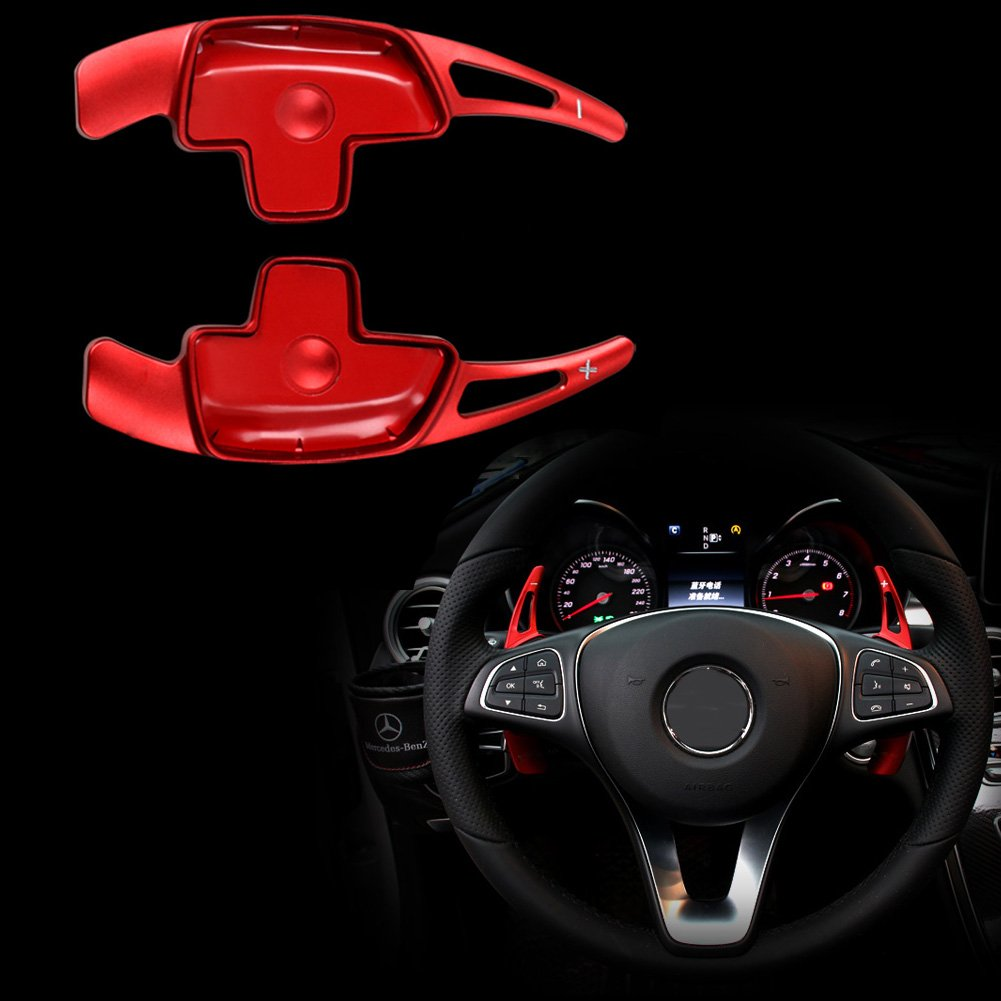 E Class W213 2016-2018 Red Angelguoguo Car Steering Wheel Paddle Shift Paddle Shifters for Mercedes Benz 2015-2018 C Class W205 Doesnt Fit for AMG car GLC X253 2015-2018