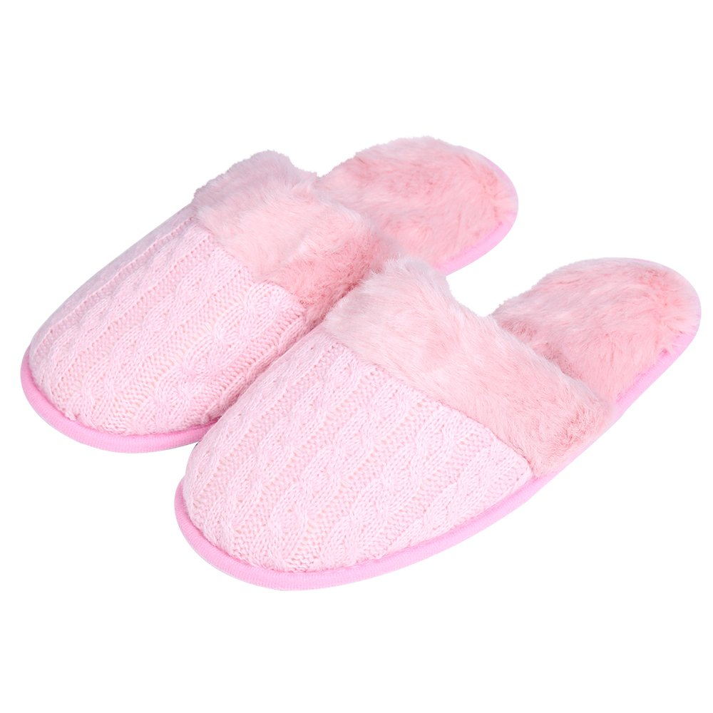 iisutas Women's Comfort Memory Foam Slippers, Wool-Like Plush Fleece Lined House Shoes (Pink, L) by iisutas (Image #1)