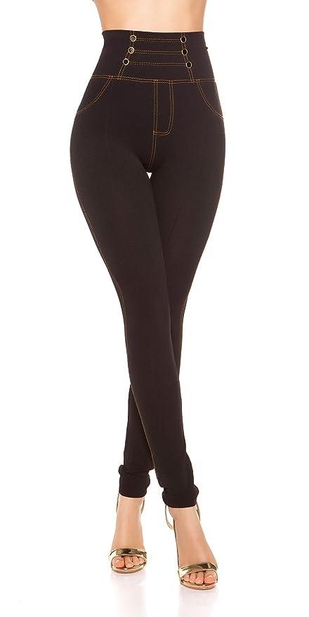 Damen Jeans Leggins Jeansoptik Perlen  Leggings Stretch Denim Hose Skinny  36-42