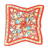 Fashion Small Square Scarf for Girl Bright-colored Floral Print 100% Silk Ideal Gift
