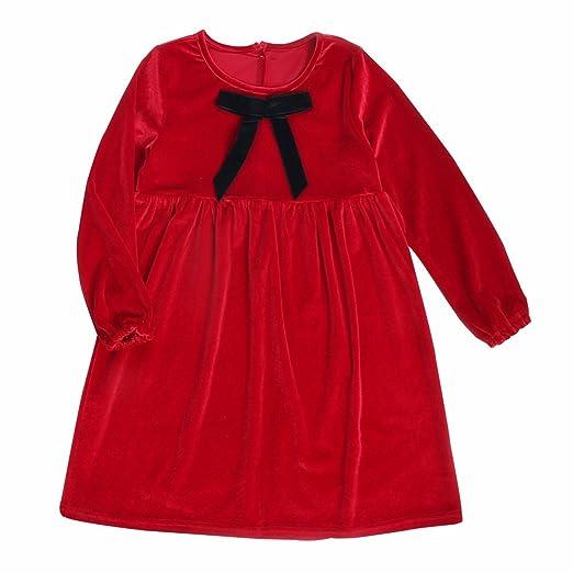 Amazon Com Vimuntado Winter Girl Dress Red Velvet Long Sleeves