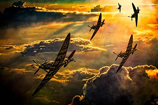 Spitfire Fighter Jet Plan Large Poster Art Print Black /& White in Card or Canvas
