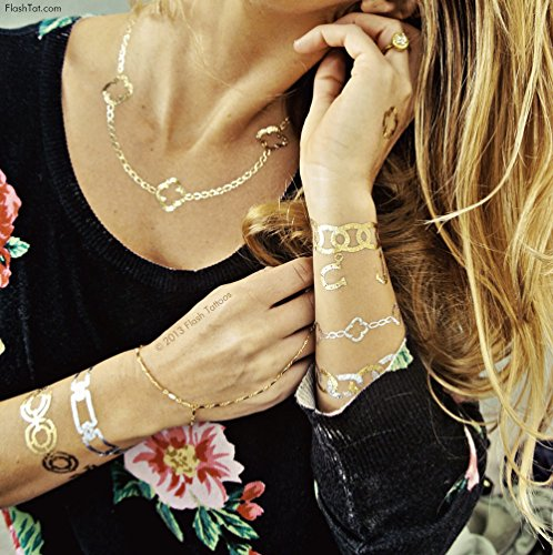 Flash Tattoos Chloe Authentic Metallic Temporary Tattoos 4 Sheet Pack (gold/silver) - Includes Over 45 Premium Waterproof Tattoos