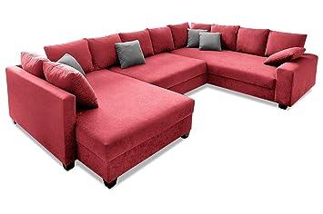 Sofa Couch Nova Via Wohnlandschaft Quadro Mit Schlaffunktion Rot