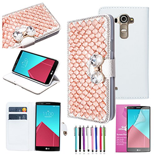 EpicGadget(TM) Extreme Deluxe Bling Champange Gold Diamante Bow Bowknot White Leather Case Cover For LG G4 + HD Clear LG G4 Screen Protector AND 1 x Random Color Stylus (US Seller!!)