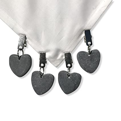 The Natural Stone Hearts Table Cloth Weights On Clip Hangers, Dark Gray,  Set Of