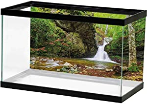 ScottDecor Waterfall Decor Fish Tank Background Poster Massive Magnificent Cascaded Waterfall in Rain Forest with Intense Water Image 3D Double-Sided Adhesive Wallpaper White