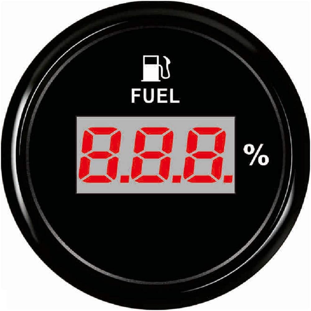 SAMDO 52mm Universal Digital Fuel Level Gauge Fuel Meter 240-33ohm Signal Red Backlight 12V//24V Black