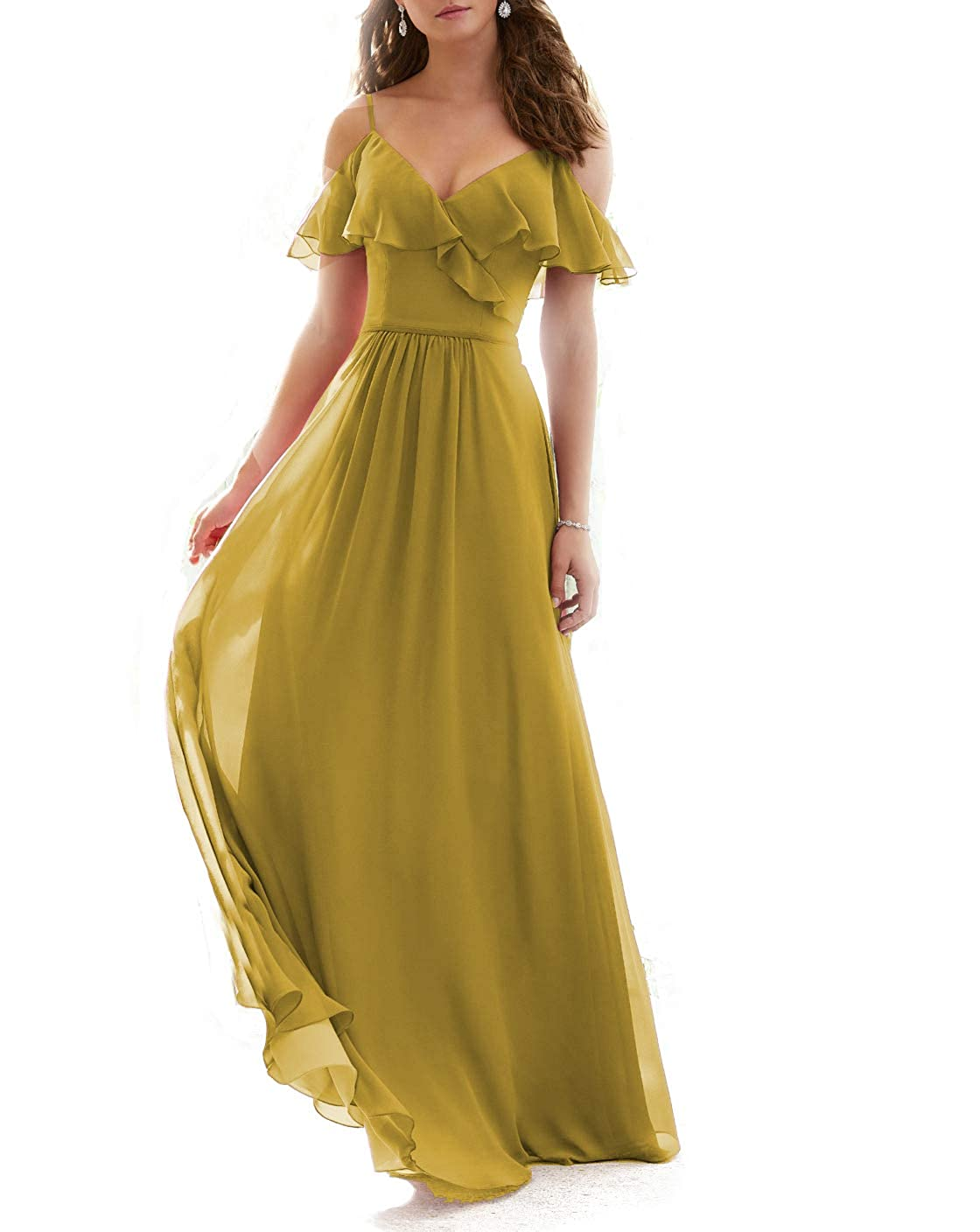 Ginger Stylefun Ruffled VNeckline Bridesmaid Gowns Spaghetti Straps Long Prom Party Dress for Women's KN003