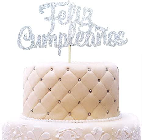 Feliz Cumpleaños Cake Topper - Happy Birthday Fiesta Party Decorations Silver Glitter