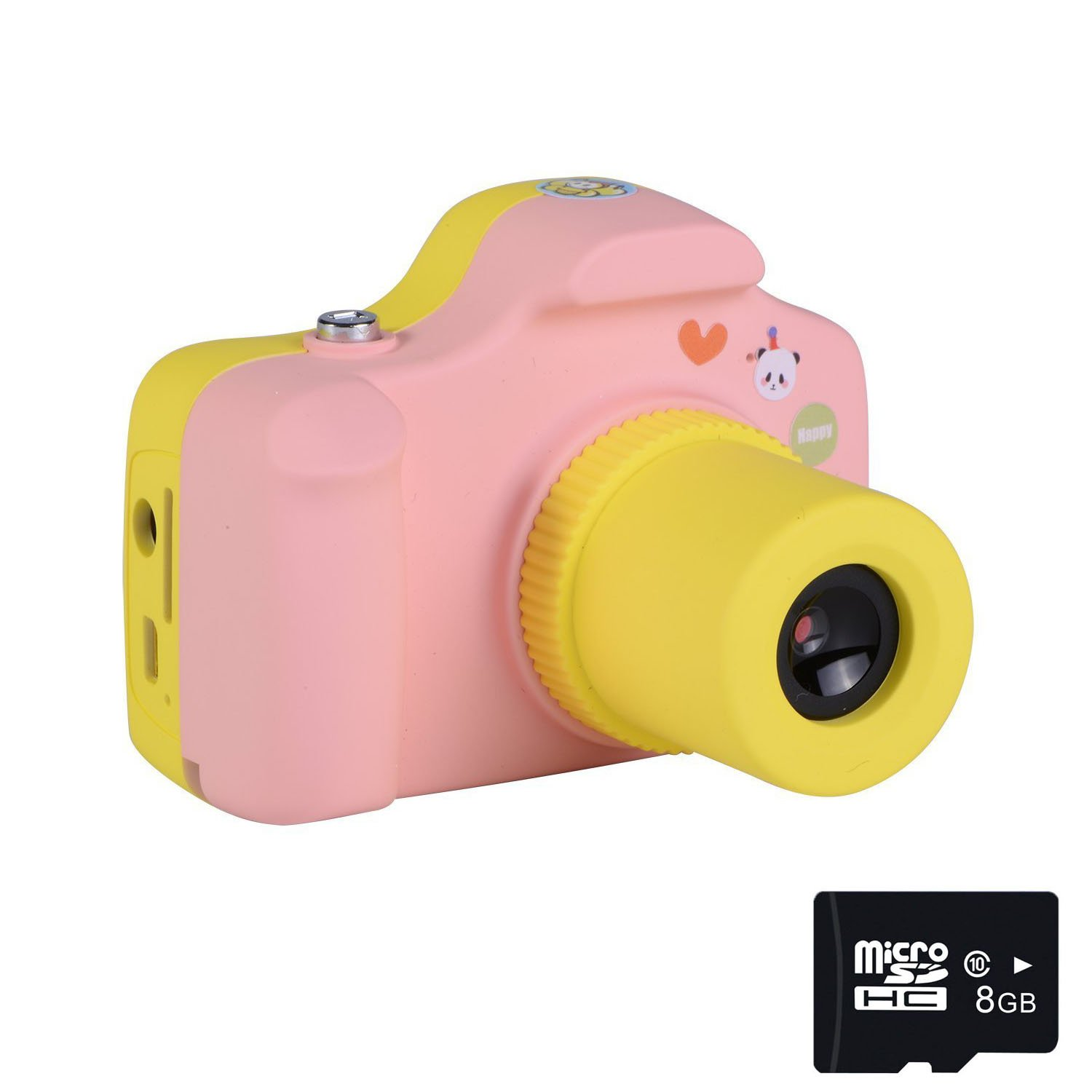 PANNOVO Mini 1.5 Inch Screen Children Kids Digital Camera with 8GB Cards (Pink)