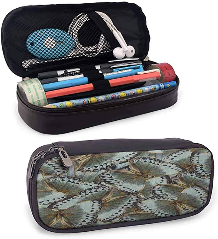 Estuche de lápices exótico Mariposas Reina de la selva Animal Alas espirituales Naturaleza Polilla Transformar Imprimir: Amazon.es: Oficina y papelería