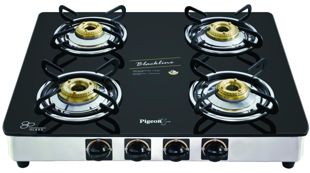 Buy Pigeon by Stovekraft Blackline Square SS Gas Stove, 4 Burner ...