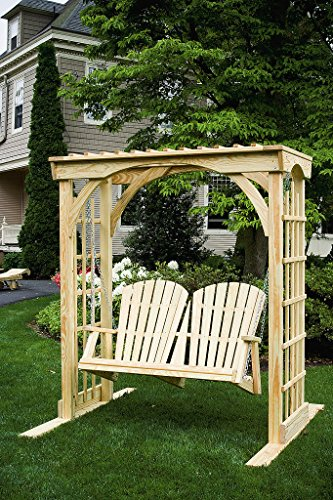 Arbor Swing Set - 6 Ft Pressure Treated Pine Martha's Arbor with 4Ft Hanging Swing - Cedar Stain