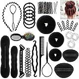 PAMIYO Hair Styling Accessories, 28pcs Set Donut Magic Bun Maker Clip Curler Braid Tools DIY Hair Styles for Women and Girls