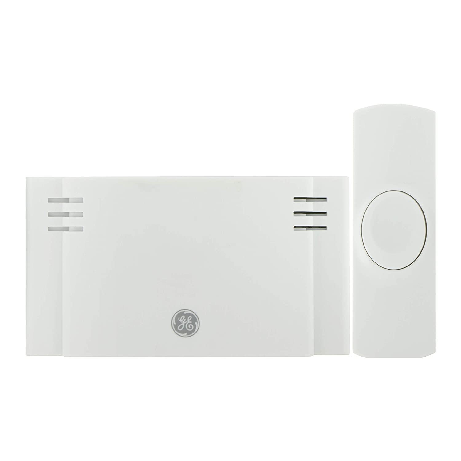 GE Wireless Doorbell Kit, 2 Chime Melodies, 1 Receiver, 1 Push Button, Battery-Operated, 150 Feet Range, White, 19247