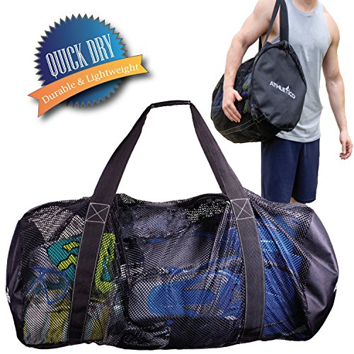 Athletico Mesh Dive Duffel Bag for Scuba or Snorkeling - XL Mesh Travel Duffle for Scuba Diving and Snorkeling Gear & Equipment - Dry Bag Holds Mask, Fins, Snorkel, and More -