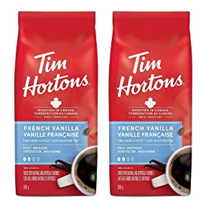 Tim Hortons French Vanilla, Fine Grind Coffee, Medium Roast, 300g/10.6oz, 2-Pack {Imported from Canada}